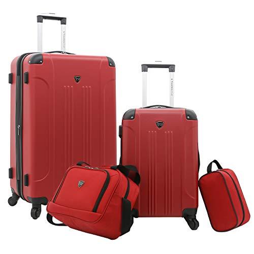 Travelers Club Sky+ Luggage Set, Red, 4 Piece