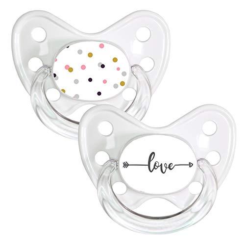 DENTISTAR® Schnuller 2er Set mit Schutzkappe - Silikon Nuckel in Größe 3, ab 14 Monate - zahnfreundlich & kiefergerecht - Beruhigungssauger - Made in Germany - BPA frei - dots + Pfeil love
