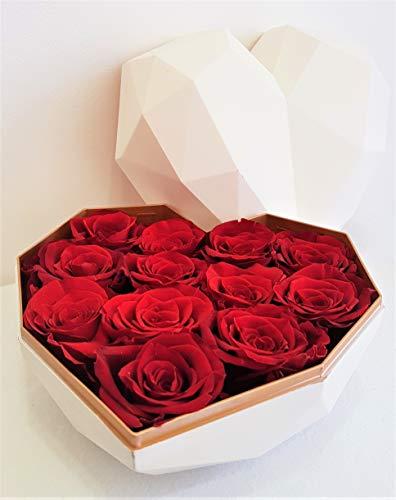 HarFri Premium Rosenbox Herz bis 3 Jahre Haltbar Flowerbox mit konservierten Rosen Blumenbox (Weißes Herz)