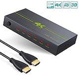 eSynic HDMI Splitter 4K 1080P Divisor HDMI de 4 vías Convertidor 1080P 1 en 4 Salidas Admite Divisor HDMI Ultra HD 4K x 2K 1080P 3D Distribuidor de Señal HDMI con Cable HDMI