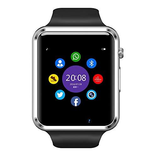 Smartwatch, SIM/TF-Anschluss (Micro-SD), Bluetooth-Sender, Kamera & Touchscreen, kompatibel mit Smartphones & Tablets aller Marken.