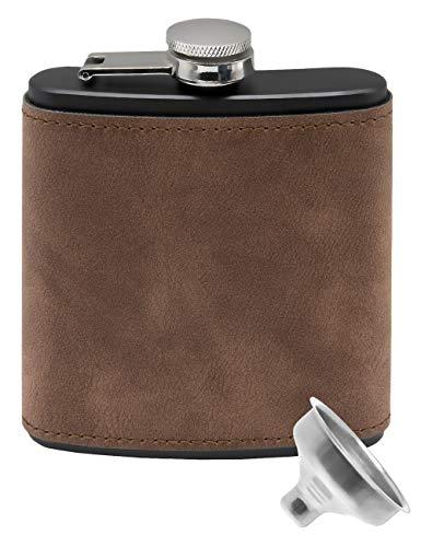Outdoor Saxx® - Petaca de acero inoxidable, diseño de piel de ante, bolsillo en el pecho, botella de bolsillo, embudo de llenado incluido, gran regalo, 175 ml, negro, marrón.