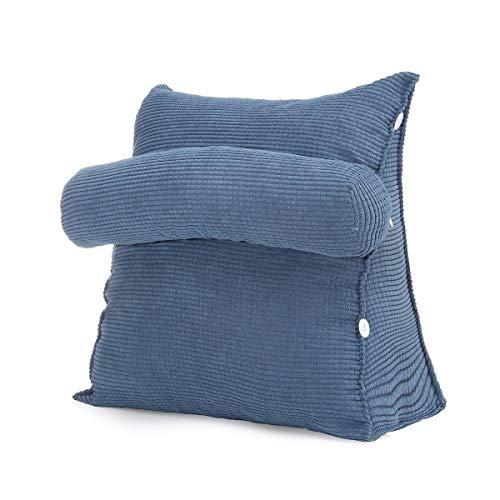 Rainny Cojín de silla triangular, cojín para silla de noche de oficina, cojín reclinable para sala de estar, cojín decorativo (color azul)