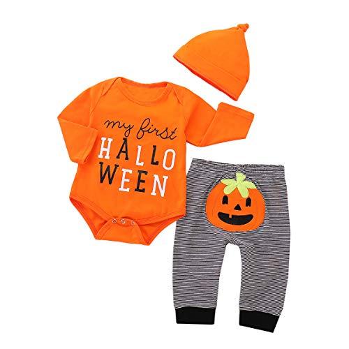 Afocuz Halloween Costumes Pumpkin Long Sleeve Outfits Set Newborn Baby Boys...