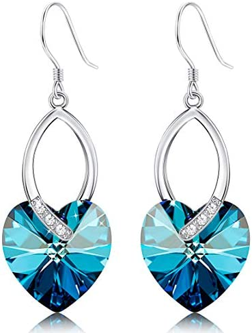 Sllaiss Blue Crystals Dangle Earrings for Women Heart Crystal Dropp Earrings Birthday Jewelry product image
