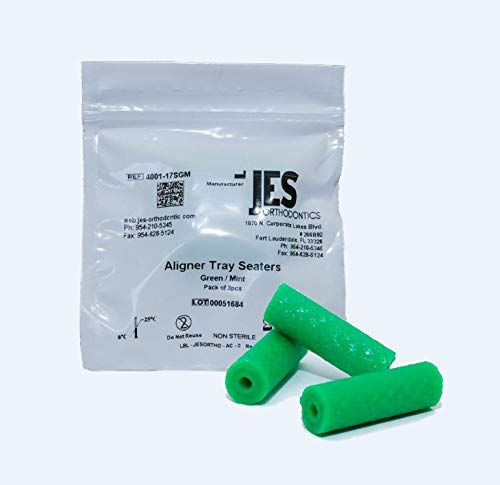 JES Orthodontics Green Chewies for Aligner Trays, Mint Scented (3 Chewies per Bag)