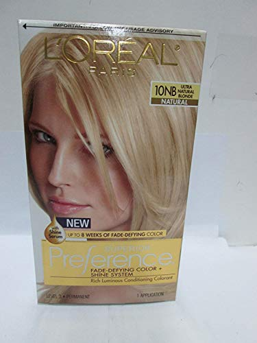 L'Oreal Paris Superior Preference Fade-Defying + Shine Permanent Hair Color, 10NB Ultra Natural Blonde, Pack of 1, Hair Dye