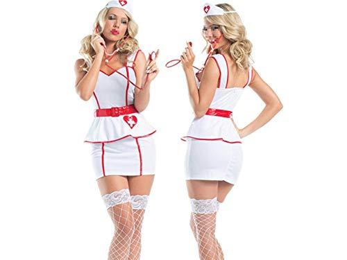 Mindruer Mindruer Dessous Maid Cosplay Sexy Uniform Krankenschwester Rollenspiel Anzug Versuchung Krankenschwester Uniform Krankenschwester Kostüm Nachtwäsche Erotische Dessous Set_ (Weiß) _M