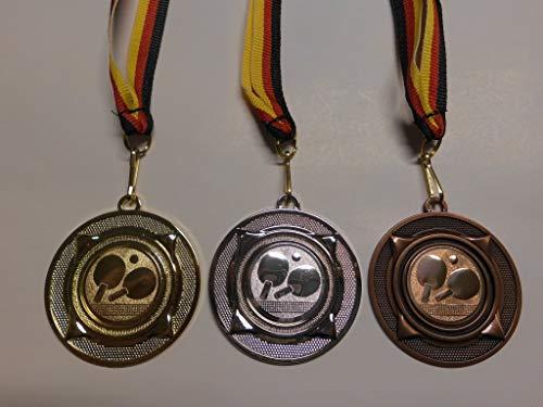 Fanshop Lünen Medaillen Set - aus Metall 50mm - Gold, Silber, Bronze - Tischtennis - TT - Medaillenset - Alu Emblem 25mm, (Gold,Silber,Bronce) - mit Medaillen-Band - (e277) -