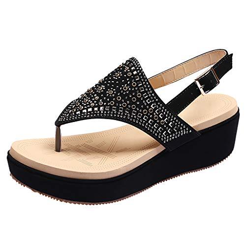 Flat Sandals for Women T-Strap Thong Rhinestone Bohemia Clip Toe Shoes (US:8.5, Black)