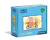 Clementoni Peppa Pig-Puzzle 3 años – Cubos de 6 Piezas – Play For Future – Materiales 100% reciclados – Fabricado en Italia, Rompecabezas para niños, Dibujos Animados, Multicolor (44009)