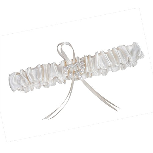 weddix Strumpfband Perla in Chamois für die Braut - stilvoller Strumpfhalter mit Kleiner Schlaufe und Bündel aus Perlen als Romantisches Brautaccessoire zur Hochzeit