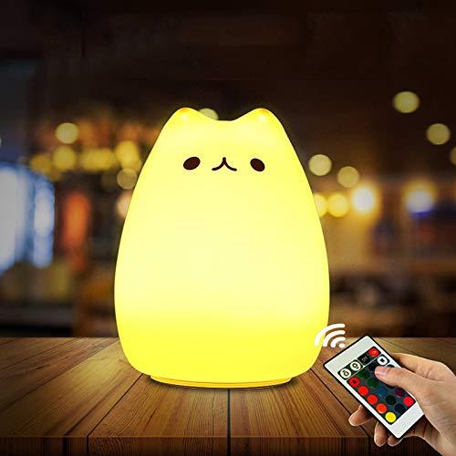 Nachtlicht Kind, otumixx Silikon LED Nachtlampe Baby Nachtleuchte mit Fernbedienung, 16 Farbmöglichkeiten, 4 Lichtmodi, Dimmbar, USB Aufladbar Touch Lamp für Babyzimmer Schlafzimmer Wohnräume Camping