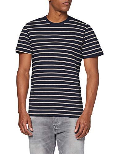 Jack & Jones JJESTRIPED tee SS Crew Neck STS Camiseta, Azul Marino, L para Hombre