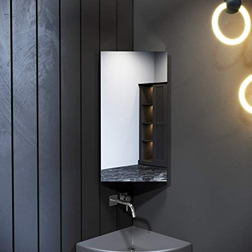 ELEGANT 800x600mm Bathroom 3 Shelves Cabinet with Mirrors Lightweight Pull Out 1 Corner Door Wall Mounted Storage Units
