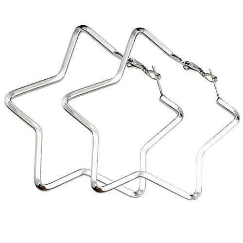 Yukhins Pendiente de aro grande geométrico simple de acero inoxidable para las mujeres niñas