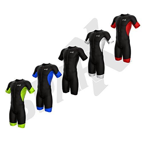 Sparx Elite Triathlon-Anzug für Herren, kurzärmelig, Triathlon-Anzug, Speedsuit, Skinsuit zum Schwimmen und Radfahren, Größe M, Schwarz/Schwarz