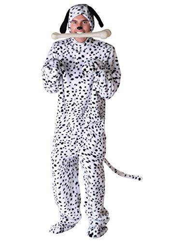 Adult Dalmatian Costume Black Spotted Dalmatian Dog Jumpsuit X-Large