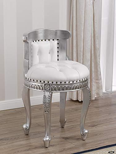 SIMONE GUARRACINO LUXURY DESIGN Taburete Adeline Estilo Barroco Moderno Silla Color Hoja Plata Eco-Piel Blanca Botones Crystal Sw