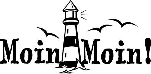 Wandtattoo: Moin Moin! - Gruß, Küste, Meer, Hamburg, Schriftzug, Leuchtturm //Farb- und Größenwahl, Wandaufkleber (Weiß - 300 mm x 150 mm)