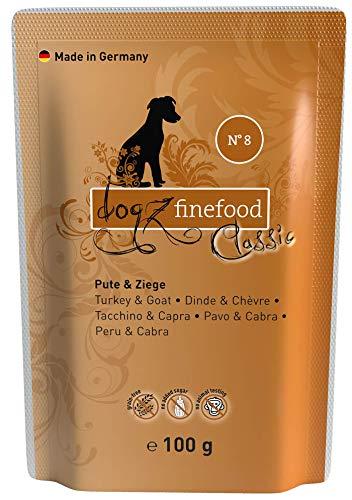 dogz finefood Hundefutter nass - N° 8 Pute & Ziege - Feinkost Nassfutter für Hunde & Welpen - getreidefrei & zuckerfrei - hoher Fleischanteil, 12 x 100 g Beutel