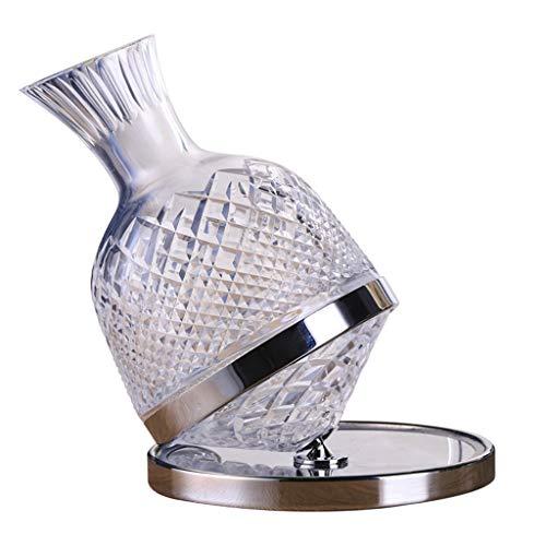 Decantadores De Vino Tinto De Cristal Vaso Dispensador De Vino De Gama Alta De Lujo Giratorio para El Hogar Lujo con Luz Superior De Cristal (Color : Clear, Size : 20 * 25cm)