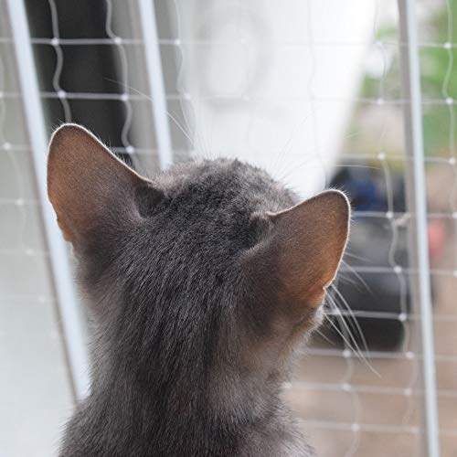 Pet Prime Katzensicherheitsnetz für den Außenbalkon Treppenhaus Fenstertür Sicherheitshinweis für Haustiere Unsichtbare Sortengröße vorgesehen (M-4x3m)