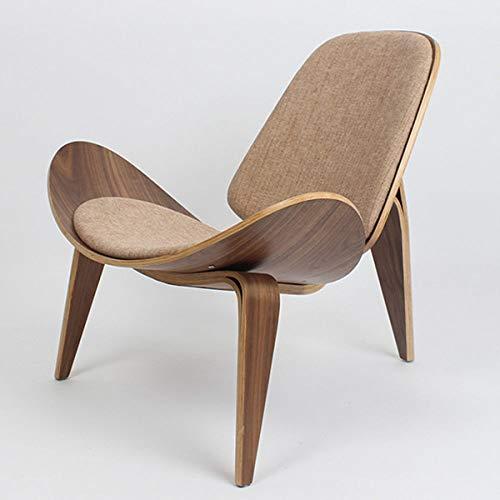 Stoel LKU Stijl driepotige schelp stoel walnoot multiplex linnen stof kussen woonkamer meubels, Khaki kleur