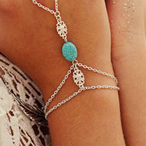 Kissherely Women Layered Silver Chain Bracelet Punk Hand Harness Chain Turquoise Finger Ring Boho Jewelry Accessories