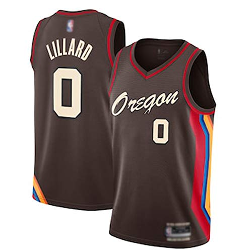 DWQ 21 Nuevo TERRAMIENTA SERVEN Blazers # 0 Jersey de Baloncesto de Lillard, Swing Transpirable Camiseta para Hombre Swing Sports No Sleep T-Shirt Versión de Prensa Cali L