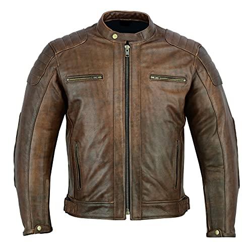 Chaqueta Moto Hombre en Cuero Urban Chaqueta de piel Marron (3XL, MARRON)