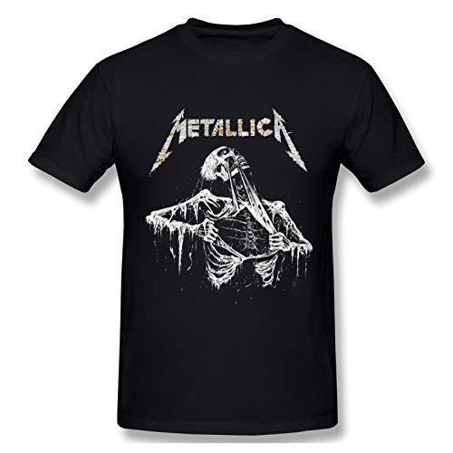 Me-tallica Skull Art Logo Mens Cotton Custom Graphic O Neck T-Shirt for Men Black 5X-Large