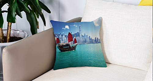 Mingdao Home Decor Sofa Werfen Kissenbezüge,Asian Ocean Set, Hong Kong Harbour, kleines Junk-Boot mit Flagge, Lila, Blau, Weiß,Kissen Cover Square Pillowcase