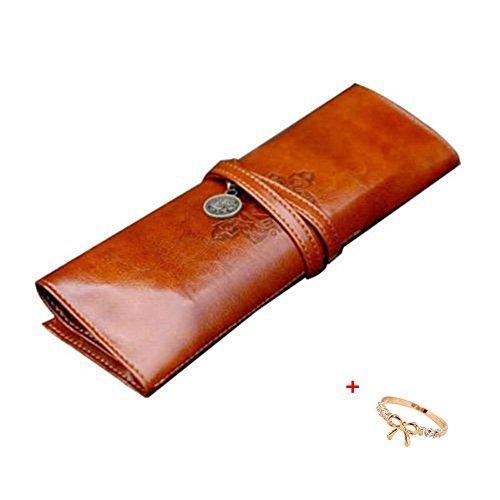 Malloom stile vintage astuccio, sacchetto della matita, portapenne, caso di trucco, borsa- cosmetica cuoio dell'unità di elaborazione