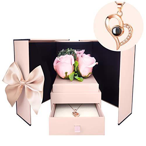 Mikonca Ich Liebe Dich in 100 Sprachen Halskette Herz Anhänger Kette mit Box Romantische Kunstblume Geschenksets für Sie in Valentinstag Jubiläum Hochzeit Geburtstag Muttertag