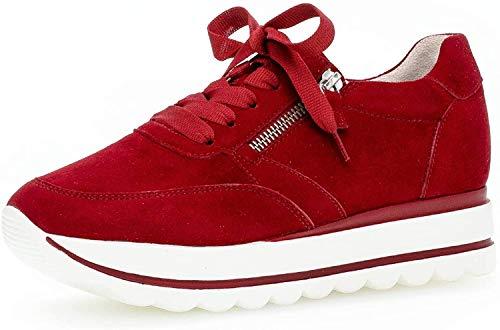 Gabor Damen Sneaker, Frauen Low-Top Sneaker,Best Fitting,Reißverschluss,Optifit- Wechselfußbett, Frauen weibliche Lady Ladies,Rubin,40 EU / 6.5 UK