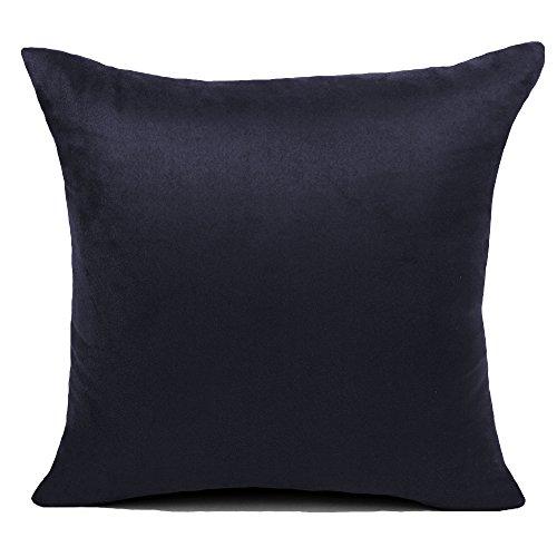 KAMIXIN - Fundas de cojín o almohada cuadradas de ante para el hogar, de colores lisos, para sofá, cama o asiento de coche, tela, negro, 65x65cm=26'x26'