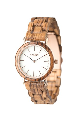 LAiMER Damen-Armbanduhr LAILA Mod. 0074 aus Zebranoholz - Analoge Quarzuhr mit strukturiertem weißen Marmor-Zifferblatt, Edelstahlgehäuse und Lederarmband