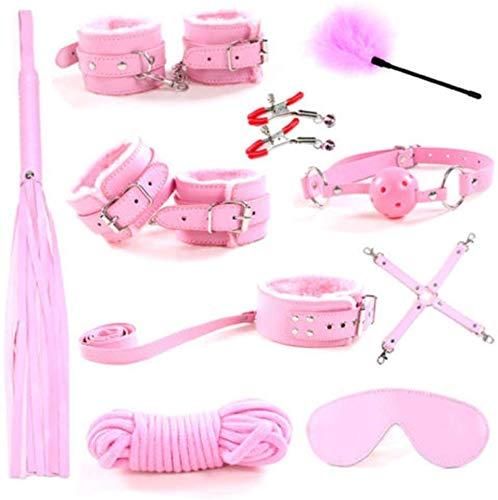 MeHam 10 Pezzi Set di Peluche Rosa Set di Kit in Pelle di Nylon Sexy Set di Giocattoli Set di Rilegatura in Bundle Alternativo qualità Durevole e duratura