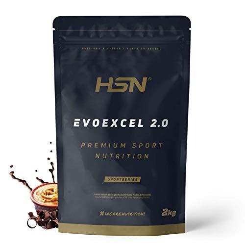 Whey Protein Isolate + Concentrate de HSN Evoexcel 2.0 | Batido de Proteínas con Enzimas Digestivas + Probióticos + Calostro | Vegetariano, Sabor Chocolate Cacahuete, 2Kg