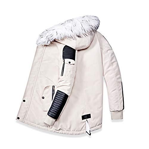 Best Price Redacel Fashion Men's Fur Collar Hooded Warm Fleece Lined Jackets and Spliced Padded Long...
