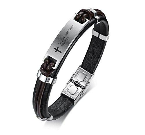 PJ JEWELRY Lassen Sie Ihre Licht Shine Matte 5:16 Inspirierende Männer Christian Bibe Vers Armband, religiöses Geschenk