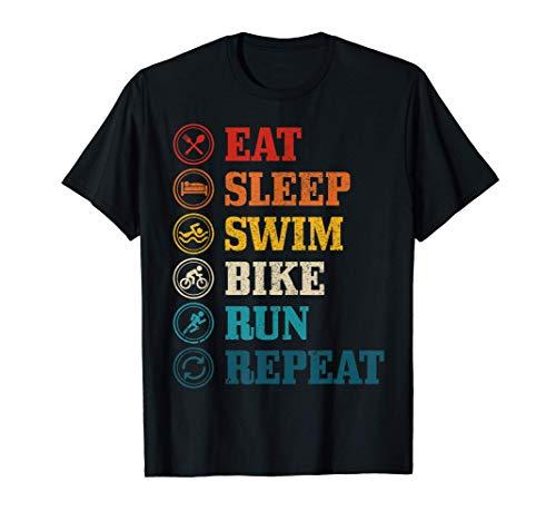 Triatlón Eat Sleep Swim Bike Run Repeat Triatleta Regalo Camiseta