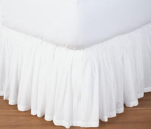 Precious Star Linen 800 Thread Count 1pc Dust Ruffle Bed Skirt Solid Queen Size 12 Inch Drop Length 100% Egyptian Cotton (White)