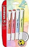 Evidenziatore - STABILO swing cool Pastel - Pack da 4 - Rosso Corallo/Fior di Ciliegio/Azzurro Nuvola/Lime