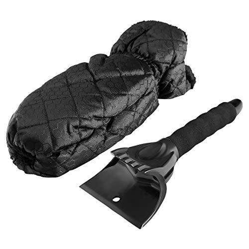 WKENSKY Eiskratzer Auto, Eiskratzer mit Handschuh Eisschaber KFZ Ergonomishces Griff Eiskratzerhandschuh für Front-, Heck- und Seitenscheiben