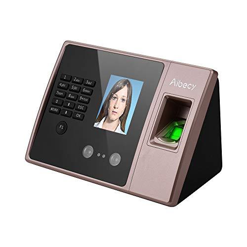 Aibecy Máquina inteligente biométrica de asistencia de tiempo de huellas dactilares Pantalla de visualización HD Reloj de tiempo Soporte Cara...