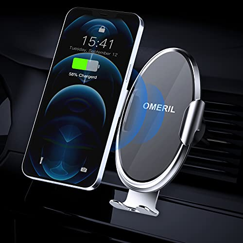 Cargador Inalámbrico Coche, OMERIL 10W QI Cargador Inalambrico Coche Carga Rapida con Ajustable 360° y Sensor Automático para iPhone 12 11 X, Samsung S20 Note 10+ S10 S9, Huawei P30 Pro, Xiaomi Mi 10