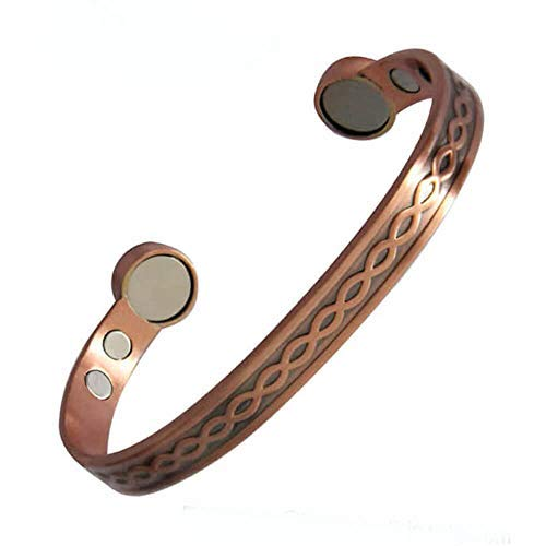 Pulsera de cobre rojo para hombres y mujeres, pulsera magnética de deportes de energía, pulsera abierta con imán retro