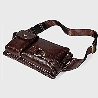 WOYAOFA Leather Waist Bag Multi-Function Practical wear-Resistant Waterproof Large Capacity Men's Chest Bag Leather Soft (Color : Brown)
